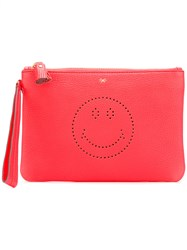 Anya Hindmarch Smiley Zipped Clutch Red