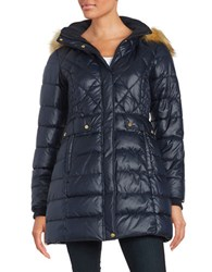 Jones New York Faux Fur Accented Quilted Coat Navy