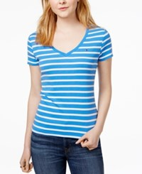 Tommy Hilfiger Cotton Striped Flag T Shirt Only At Macy's Pacific Ivory
