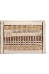 Aerin Beauty Textured Leather Trimmed Striped Straw Pouch Beige