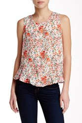 Harlowe And Graham Tie Back Sleeveless Printed Blouse Pink