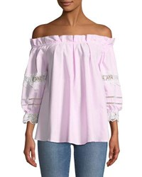 Romeo And Juliet Couture Ruffled Off The Shoulder Blouse Pink
