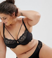 Asos Curve Veda Microfibre And Lace Padded Underwire Bra Black