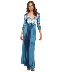 Culture Phit Aaric Wrap Front 3 4 Sleeve Maxi Dress Teal Women's Dress Blue