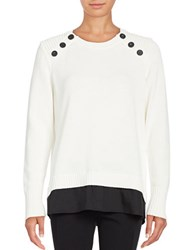 Karl Lagerfeld Crewneck Mock Layer Sweater White