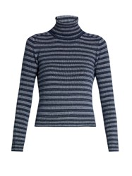 Sonia Rykiel Striped Cashmere Roll Neck Sweater Blue Stripe