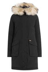 Woolrich Military Down Parka With Fur Trimmed Hood Black
