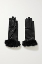 Agnelle Boa Feather Trimmed Leather Gloves Black