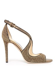 Jimmy Choo Emily 100Mm Glitter Sandals Nude Gold