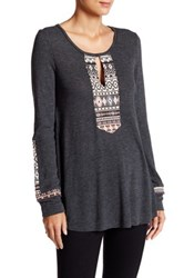 Anama Loose Fit Embroidery Panel Blouse Gray