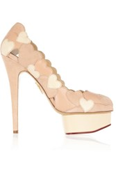 Charlotte Olympia Love Me Heart Appliqued Leather And Suede Pumps Blush
