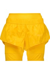 Adidas By Stella Mccartney Mesh Trimmed Shell And Stretch Jersey Shorts Marigold