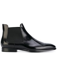 Burberry Perforated Detail Leather Chelsea Boots Black