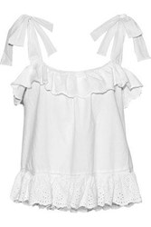 Love Sam Ruffled Broderie Anglaise Cotton Top White