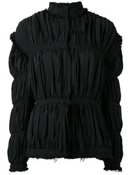 J.W.Anderson High Neck Gathered Jacket Women Silk Acetate 10 Black
