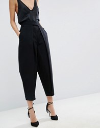 Asos White Mom Jean With Pleat Front Detail Black