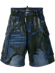 Dsquared2 Mid Rise Printed Shorts Blue