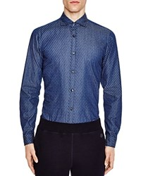 Z Zegna Printed Denim Slim Fit Button Down Shirt