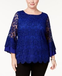 Charter Club Plus Size Lace Top Created For Macy's Bright Sapphire