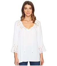 Tribal On Or Off The Shoulder Blouse W Eyelet Detail White Women's Blouse
