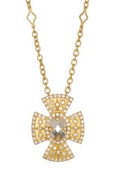 Freida Rothman 14K Gold Plated Sterling Silver Cz Large Maltese Pendant Necklace Metallic