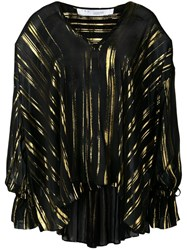 Iro Adore Metallic Sheen Blouse Black