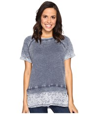 Allen Allen Short Sleeve Raglan Crew With Lace Hem Lapis Women's Clothing Navy