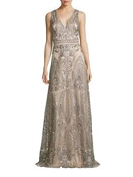 David Meister Embroidered Evening Gown Silver