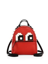 Les Petits Joueurs Mick Eyes Micro Spiked Leather Backpack Red