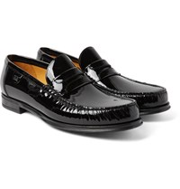 Dolce And Gabbana Patent Leather Penny Loafers Black