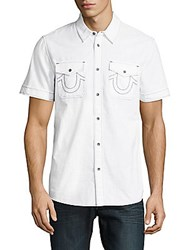 True Religion Cotton Short Sleeve Casual Button Down Shirt Black