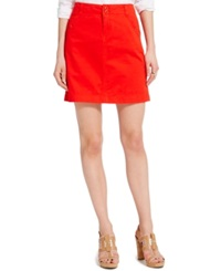 Tommy Hilfiger Solid Chino Skirt Flame Scarlet