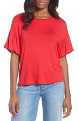 Bobeau Knit Bubble Sleeve Tee Red Lipstick