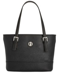Giani Bernini Saffiano Tote Black On Black Silver