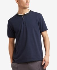 Kenneth Cole Reaction Men's Knit Band Collar T Shirt Indigo