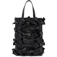 Comme Des Garcons Girl Black Faux Leather Bows Tote