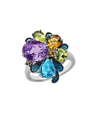 Lord And Taylor Sterling Silver Multi Semi Precious Stone Ring