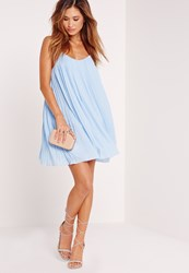 Missguided Strappy Pleated Swing Dress Blue No