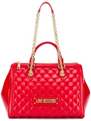 Love Moschino Quilted Tote Bag Red