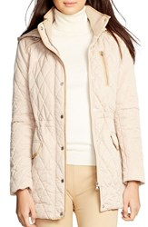 Women's Lauren Ralph Lauren Hooded Quilted Drawstring Waist Jacket Light Sand