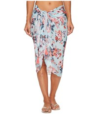 Seafolly Antique Floral Sarong Cover Up Pastel Turquoise Scarves Blue