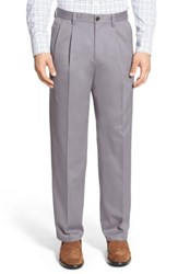 Nordstrom Big And Tall Shop 'Classic' Smartcare Tm Relaxed Fit Double Pleated Cotton Pants Grey Filigree