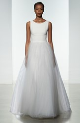 Women's Amsale 'Libby' Illusion Back Crepe And Tulle Ballgown Ivory
