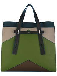 Furla Colour Block Tote Men Leather One Size Green