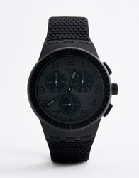 Swatch Susb104 Piege Chronograph Silicone Watch In Black
