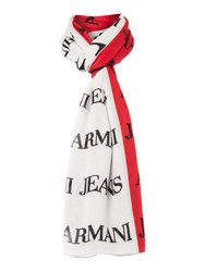 Armani Jeans Tricolour Logo Scarf Multi Coloured Multi Coloured