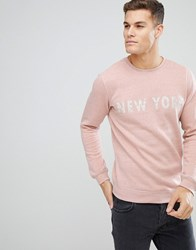 Solid Sweatshirt In Pink Marl With New York Print