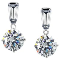Carat London 9Ct White Gold Round Drop Earrings Clear