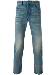 Gucci Cropped Slim Fit Jeans Blue