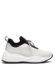 Prada America's Cup Mesh And Leather Trainers White